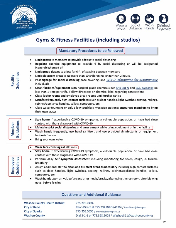 Washoe Country Gym Guidlines highlight