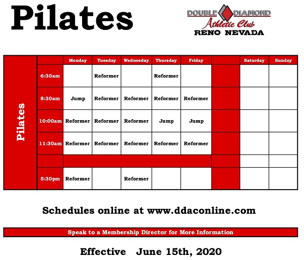 Phase 2 Pilates schedule